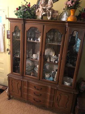 Lot 028 Lot of China Cabinet including entire contents including dishes, glassware, corning ware, silver plate PICK UP IN GARDEN CITY