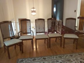 Lot 002 Lot Of 5 Caned Keller Charlene Yates Dining Room Chairs  Some in need of repair 41.5H x 18W x 19L PICK UP IN GLEN COVE
