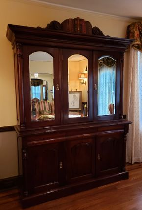 Lot 033 China Cabinet Wood/Mirror 83H x 65.25W x 18.25D CONTENTS NOT INCLUDED PICK UP IN ROCKVILLE CENTRE, NY