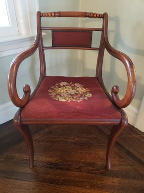 Lot 006 Vintage Needlepoint Cushing Dining Armchair 32.5H x 20.75W x 20D PICK UP IN GARDEN CITY, NY
