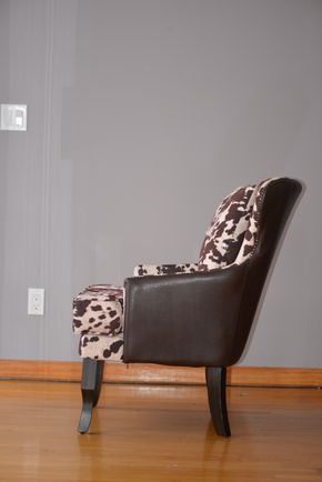 Lot 004 ANIMAL PRINT WEST ELM UPHOLSTERED CHAIRS W/NAIL HEAD TRIM 35HX28WX24L  PICK UP IN PORT WASHINGTON