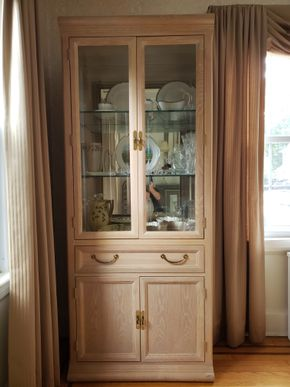 Lot 042 Light Wood China Cabinet 1 Drawer (CONTENTS NOT INCLUDED) 78H x 32W x 16.5D PICK UP IN GARDEN CITY,NY