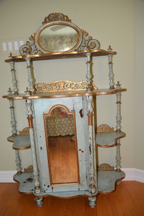Lot 022 Pick Up Pay at Pick Up 18th Century French Cabinet turned painted aqua blue and gold gilded Wood with inlaid mirrors Green Gold Painted Shelf 53W x 36H x 13D PICK UP IN PECONIC/RIVERHEAD