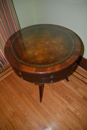 Lot 027 Mahogany and Leather Top Drum Table 28.5H x 28.875W x 28.75L PICK UP IN  MALVERNE, NY
