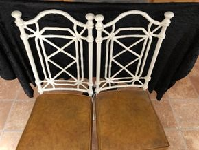 Lot 035 Pair of Metal Faux Bamboo Chairs w/Vinyl Seats 38H x 15W x 17D PICK UP IN NORTH BABYLON