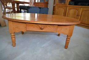 Lot 003 Oak Wood 1 Drawer Coffee Table 16H x 45W x 27.875L PICK UP IN SEAFORD, NY