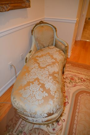 Lot 013 PU/Pay at Pick Up  Painted carved wood Chaise French Mid to late 18th century, Covered in Teal Silk Damask 36H x 65L x 26W PICK UP IN PECONIC/RIVERHEAD