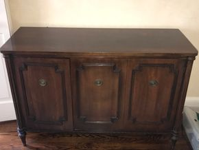 Lot 046 Buffet Table with 2 Cabinets 32Hx18Wx48Long CAN BE PICKED UP IN GARDEN CITY.