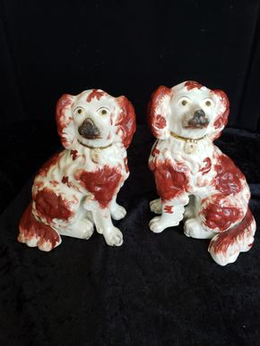 Lot 036 Del.Peter/Pair of  Ruby and White Staffordshire PICK UP IN PECONIC/RIVERHEAD