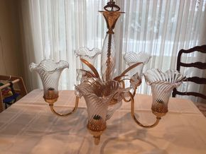 Lot 021 Decorative Brass/Glass 5 Arm Chandelier w/shades 21.5 Inches Long PICK UP IN GARDEN CITY