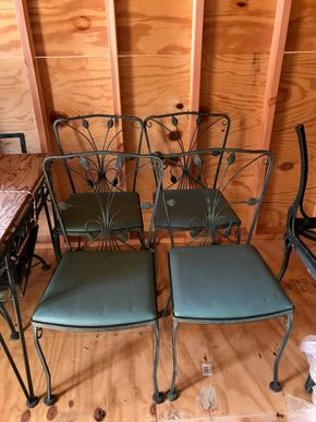 Lot 119 Lot of 4 Wrought Iron Chairs. 33.25H X 16W X 16.5L. PICK UP IN BELLMORE.