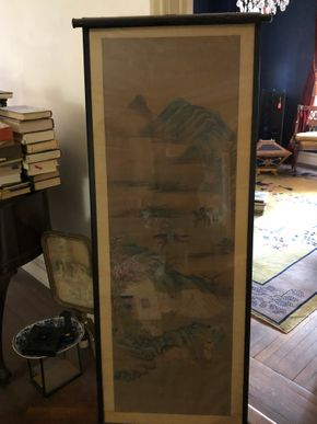 Lot 026 Antique Chinese Scroll Some decoration and restoration 64H x 37W