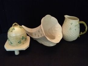 Lot 064 Lot of Belleek Pieces Honey Pot Pitcher and Horn PICK UP IN ROCKVILLE CENTRE