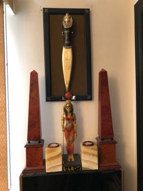 Lot 099 Pair of Onyx Candle Holders, King Tut Dagger and Pair of Obelisks PICK UP IN NORTH MASSAPEQUA