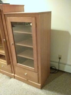 Lot 011 Ethan Allen Cabinet with Glass Door 50.25 x 18.5 x 32.5 PICK UP IN OCEANSIDE