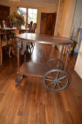 Lot 002 Wood Drop Leaf Rolling Tea Bar Serving Cart 24.5H x 26W x16.875L PICK UP IN PORT WASHINGTON, NY