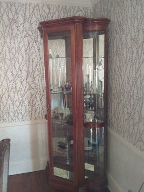 Lot 019 Large wood and Glass Curio Cabinet 80 x 18 x 36 PICK UP IN ROCKVILLE CENTRE