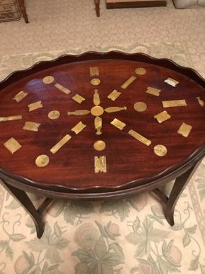 Lot 020 Antique Mahogany Oval Inlaid Serving Tray Table With Mother Of Pearl InlayCirca 1830 20H x  26L x 18W Table  PICK UP IN MANHASSET