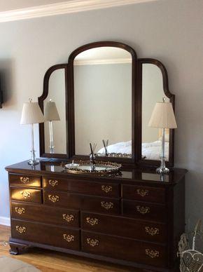 Lot 016 Ethan Allen Cherry 10 Drawer Dresser With Mirror 32Hx 22W x 67L  Mirror 46H PICK UP IN CENTERPORT