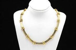 Lot 016 Tiffany and Co. 18k Yellow Gold Love Knot Groove Link Choker Necklace PICK UP IN GARDEN CITY