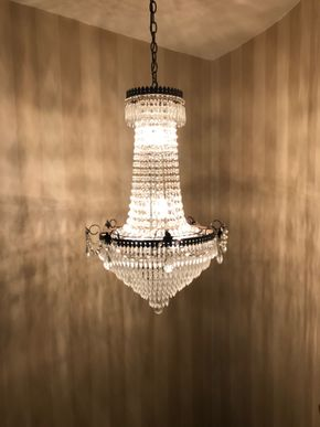 Lot 066 Large Crystal Empire Style Hall Chandelier approx 34 Inches Tall PICK UP IN ROCKVILLE CENTRE