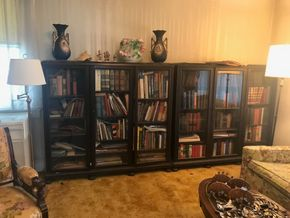 Lot 026 Pair Of Antique Wood and Glass Book Cases 57H x 13W x 60L PICKED UP IN LYNBROOK