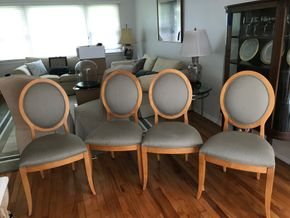 Lot 110 Lot Of 4 Fabric and Wood Ethan Allen Dining Room Chairs 40H x 22W x 20D PICK UP IN GARDEN CITY
