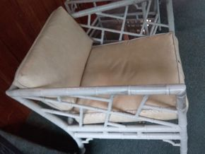 Lot 009 Pair Of  Metal Craft Arm Chairs With Vinyl Cushions. AS IS 25H x 28W x 29L PICK UP IN NORTHPORT
