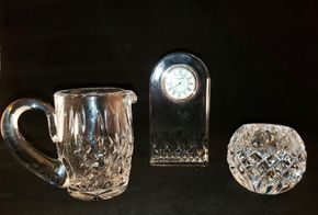 Lot 035 Lot of 3 Waterford Items / Small Pitcher 4H / Lismore Essence Clock 5.4H x 2.9W x 1.3D / Round Candle Holder 3H x 3W PICK UP IN COMMACK,NY