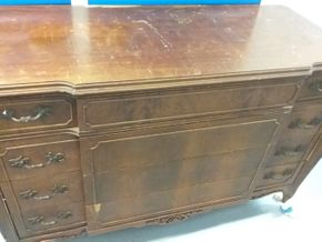 Lot 017 Antique Dresser Some Damage to top 35H x 22W x 51L PICK UP IN ROCKVILLE CENTER