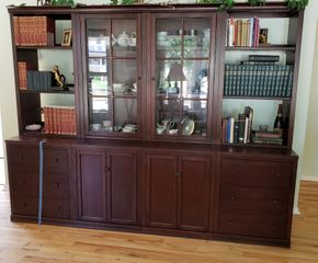 Lot 016 3 Unit 2 Bookshelves Center Display Cabinet  75.5H x 96.5W x 23D   PICK UP IN WEST ISLIP, NY