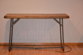 Lot 015 BAKER WOOD/METAL RUSTIC FOLDING DESK 31H X 24W X54L PICK UP IN PORT WASHINGTON