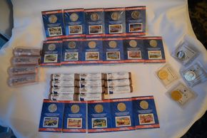 Lot 016 Lot of 12 Assorted State Quarters and Stamp First Issues, 4 Half Dollars 1971, 1989, 1994, 1995, 14 2009 Lincoln Center