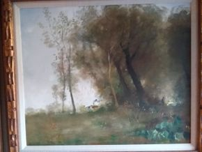 Lot 033 French Landscape Oil on Canvas 15 x 18.25 PICK UP IN MANHASSET