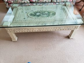 Lot 004 Delivery  Glass Top coffee Table with painted and stamped tin ceiling elements, center painted wreath medallion with Floral Bouquet 19H x 35WPICK UP IN PECONIC/RIVERHEAD