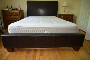 Lot 001 Faux Leather Bed Frame 29.5H x 56.25W x 83L PICK UP IN MINEOLA, NEW YORK