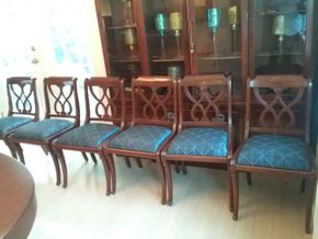 Lot 027 Lot Of 6 Restored Drexel Heritage Upholstered Side Chairs 34Hx 19W x 19L PICK UP IN ROCKVILLE CENTRE