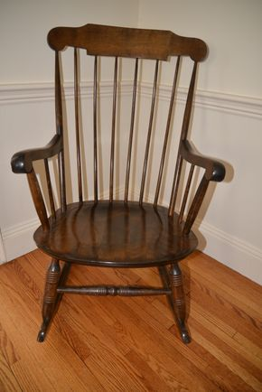 Lot 010 Windsor Wood Rocking Chair 40H x 21W x 19.5L  PICK UP IN ROCKVILLE CENTRE