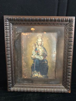 Lot 146 Oil on Canvas Madonna and Child Framed behind Glass 10Hx8W- unstretched with significant paint loss