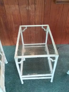 Lot 013 Metal And Glass Side Table 23H x 26W x 18L PICK UP IN NORTHPORT