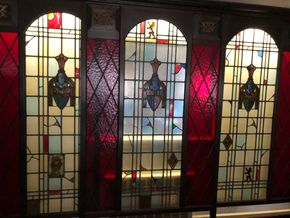 Lot 022 PU Stained Glass 3 Panel Sliding Wall 8feet Tall x 12feet Long PICK UP IN EAST MEADOW