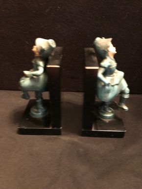 Lot 067 Antique Metal Bookends.  AS IS -Scratches. 6.25 T X 3W X 3.75 L. PICK UP IN BELLMORE.