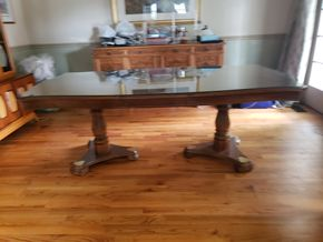 Lot 004 Wood Dining Table 30H x 43W x 64L approx. /1 Leaf 16W PICK UP IN MALVERNE,NY