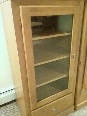 Lot 010 Ethan Allen Cabinet with Glass Door 50.25 x 18.5 x 32.5 PICK UP IN OCEANSIDE