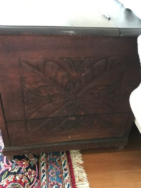 Lot 048 Carved Wood Chest 24H x 23W x 53.5L PICK UP IN LAWRENCE