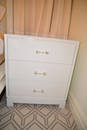 Lot 028 Custom Made White Laquered 3 Drawer End Table w/glass pulls  24W x 28H x 18D PICK UP IN NEW HAVEN, CT