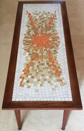 Lot 004 PU Mid Century Tile Top Coffee Table 14.5H x 48W x 18D PICK UP IN GREAT NECK, NY