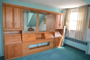 Lot 019 Oak Wood Wall Bed 3 Unit R/L Side 74H x 24.625W x 15L Center w/Mirror and Top Lights 74H x 63W x15L  PICK UP IN SEAFORD, NY