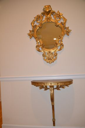 Lot 019 PU/DEL  mounted mirror and demi table with flower accents and gold gilt -  Mirror 37H x 28W  Table 29H x  25W x 10D PICK UP IN PECONIC/RIVERHEAD