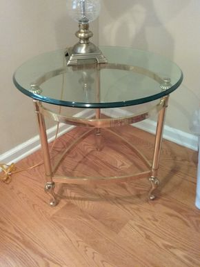 Lot 013 Brass And Glass End Table 22H x 23 in Diameter PICK UP IN GARDEN CITY